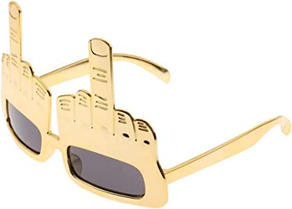 Funny Sunglasses Party Glasses Middle Finger Gesture Sunglasses Party Fun Do Dress Up - Golden