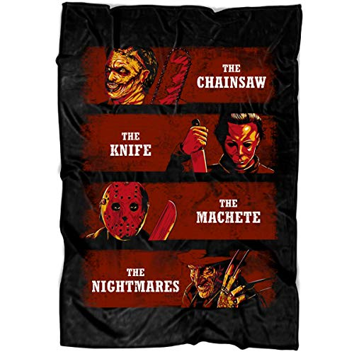 LEXIGSTORE Horror Movies Soft Fleece Throw Blanket, Jason Halloween Horror Nights Fleece Luxury Blanket (Large Blanket (80