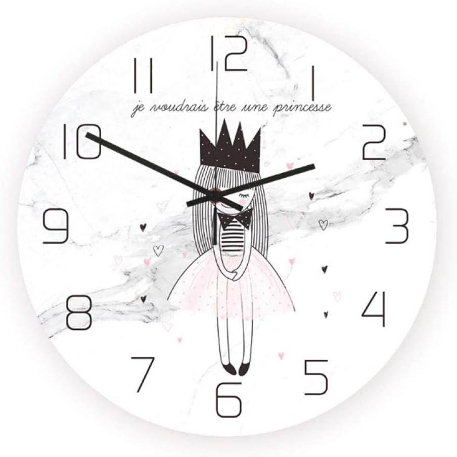 yingying Nordic Style Crown Princess Quartz Reloj De Pared 12 Pulgadas Moderno Fantástico Arte Abstracto Estilo UV Impresión De Plástico Adecuado para Niños Dormitorio Comedor
