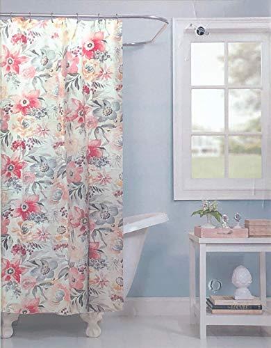 Raymond Waites Fabric Shower Curtain Floral Blooms Pattern in Shades of Gray Pink Brown Tan on Cream/Off-White - Atiu, - Raymond Designer Waites