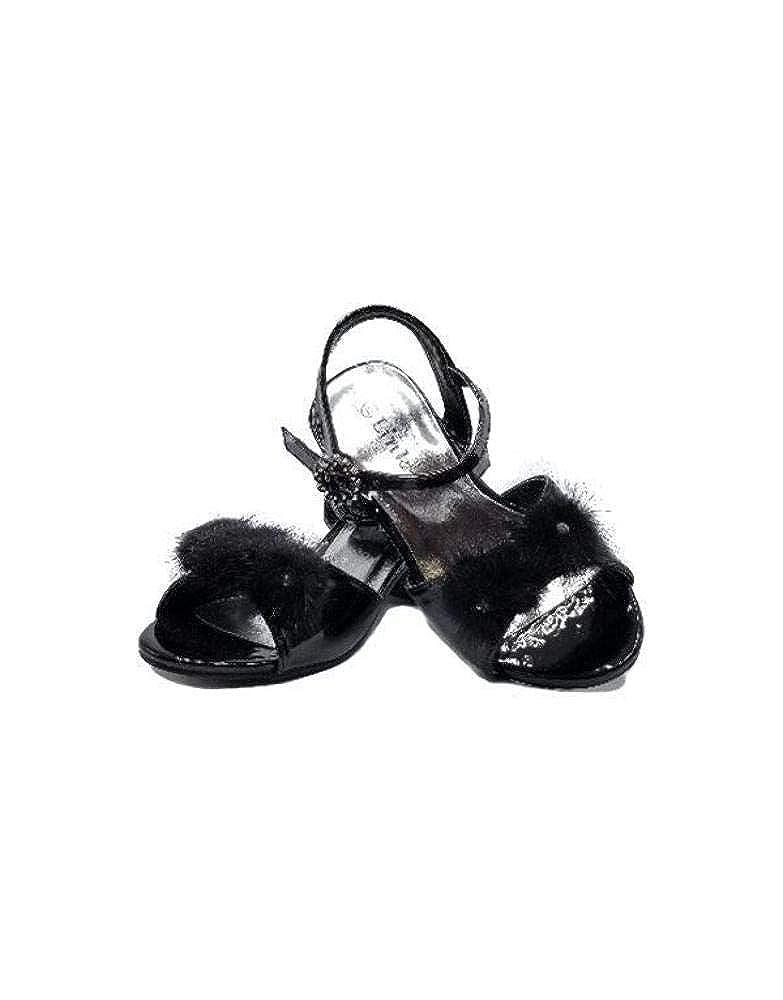 UHAVITCOM Kids Girl Low Block Heel Sandal with Fur Flowers SUI-18K