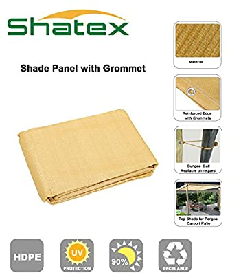 Shatex 12ftx18ft 90% UV Block Outdoor Sunscreen Shade Panel, Patio/Window/RV Awning,Taped Edge with Grommet, Golden Wheat by Shatex