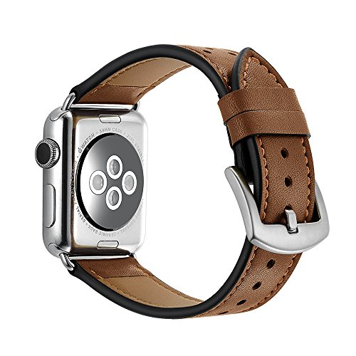 (for Apple Watch Band, LERMX 42mm Genuine Leather iWatch Strap Replacement Band with Stainless Metal Clasp for Apple Watch Series 3 Series 2 Series 1 Sport and Edition-New Brown)