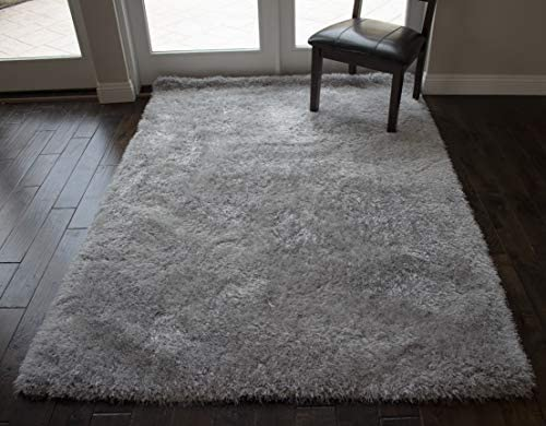 8×10 Feet Large Fluffy Fuzzy Furry Modern Contemporary Silver Light Gray Light Grey Color Solid Area Rug Carpet Rug Bedroom Living Room Indoor Shag Shaggy Canvas Backing Plush Pile
