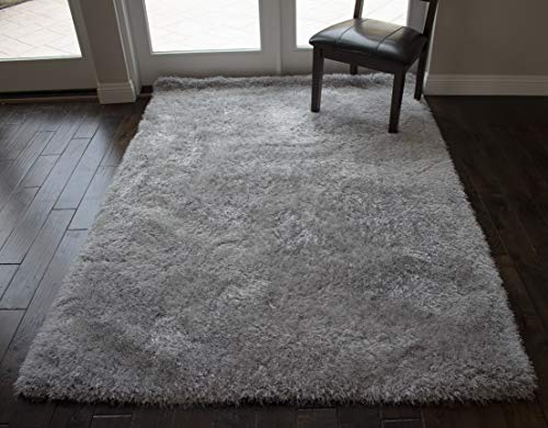 LA Epic Thick Thin Pile Soft Fluffy Furry Hairy Large Plush Contemporary Braided Shag Shaggy 8-Feet-by-10-Feet Polyester Made Area Rug Carpet Rug Silver Color