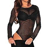 #9: Shawhuwa Womens Sexy Sheer Striped Long Sleeve Bodysuit Tops Clubwear