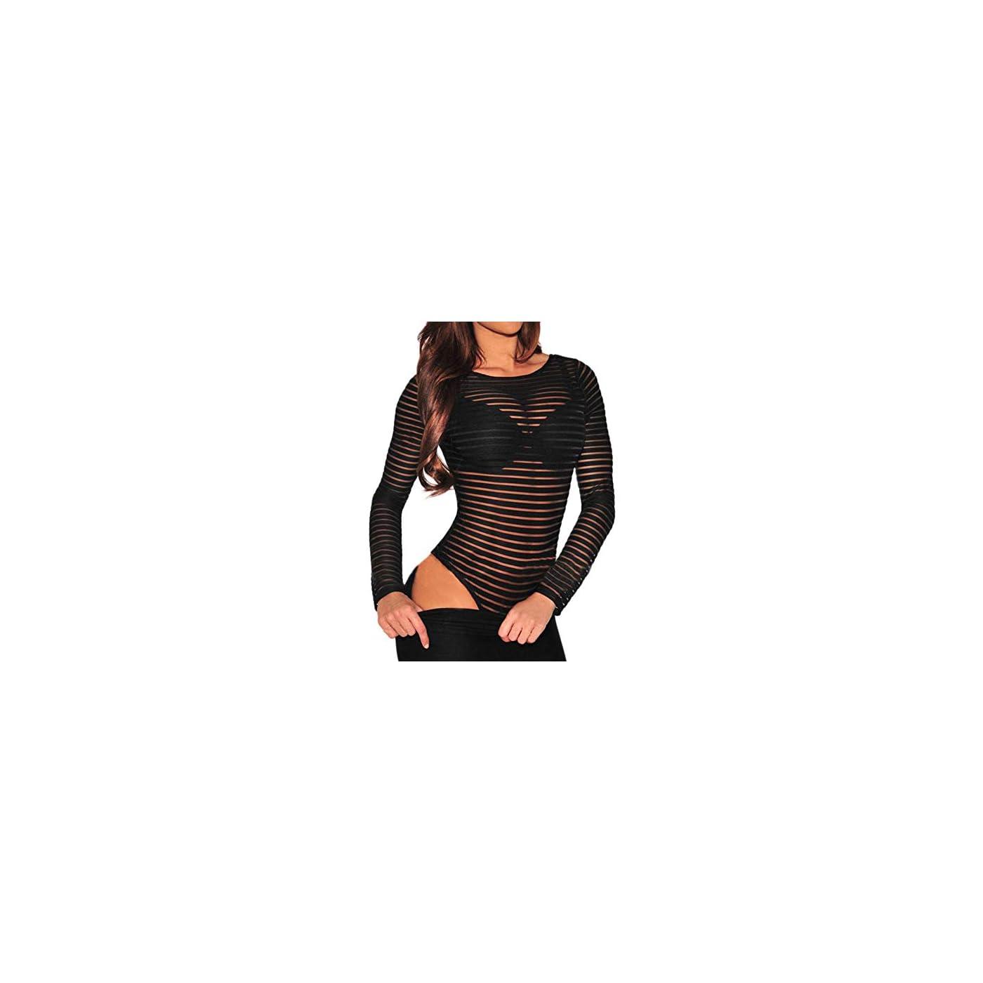 Shawhuwa Womens Sexy Sheer Striped Long Sleeve Bodysuit Tops Clubwear 51yD 2BFr8EQL