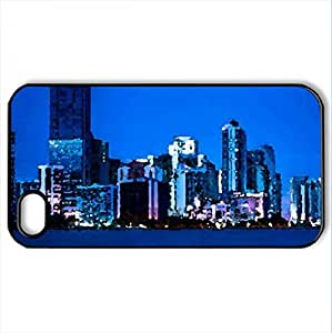 Big City Lights - Case Cover for iPhone 4 and 4s (Skyscrapers Series, Watercolor style, Black)