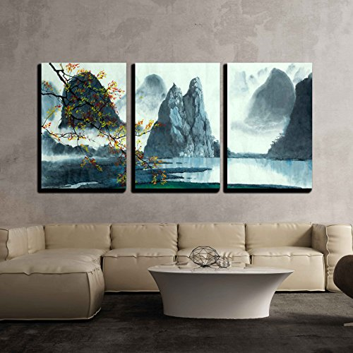 Chinese Mountains Fog Autumn and Lake x3 Panels