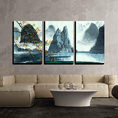 Chinese Mountains Fog Autumn and Lake x3 Panels