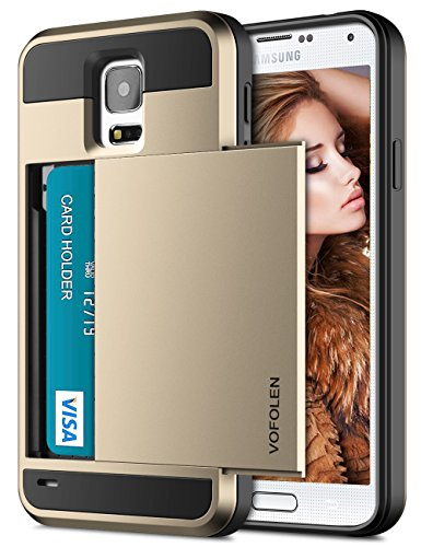 51yD 9f0V%2BL - Galaxy S5 Case, Vofolen Hybrid Cover Galaxy S5 Wallet Case Shock Absorption Rubber Soft Bumper Armor Anti-Scratch Protective Shell with Slide Card Holder Slot for Galaxy S5 (Gold).