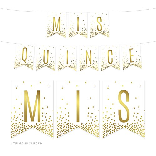 Andaz Press Metallic Gold Confetti Polka Dots on White Birthday Party Banner Decorations, Mis Quince, Approx 5-Feet, 1-Set, Quinceanera 15th Birthday Colored Themed Hanging Pennant Decor]()