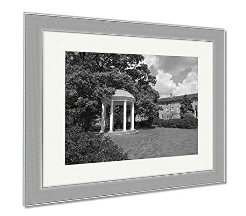 Ashley Framed Prints Old Well At Unc Chapel Hill, Wall Art Home Decoration, Black/White, 34x40 (frame size), Silver Frame, (North Carolina Chapel Hill Framed)