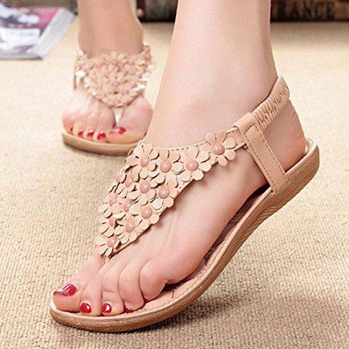 Sandalias mujer planas, Culater Verano Bohemia dulce con cuentas clip dedo Zapatos de playa Caqui