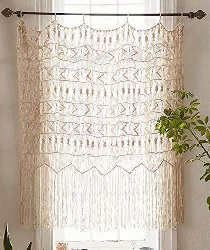 Macrame Lace Curtains - Flber Macrame Curtain Macrame Wall Hanging Macramé Handwoven Boho Wedding Backdrop Kitchen Curtains,52