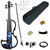 Kinglos 4/4 Blue Fire Colored Solid Wood Intermediate-B Electric / Silent Violin Kit with Ebony Fittings Full Size (DSZB0015)