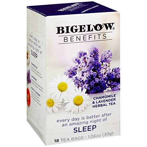 Bigelow Benefits Sleep Chamomile Lavender Herbal Tea Box of 18 Teabags (Pack of 6) Caffeine-Free Individual Herbal Tisane Bags, for Hot Tea or Iced Tea, Plain or Sweetened with Honey or Sugar