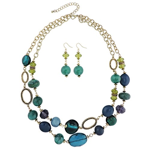 - COIRIS 2 Layer Strand Statement Necklace Earrings Collar Jewelry Set (N0003)