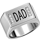 Size 7-15 Stainless Steel Dad Father Ring Signet Cubic Zirconia Cocktail Graduation Wedding Anniversary