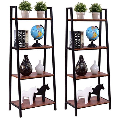 2PCS 4-Tier Ladder Storage Book Shelf Wall Bookcase Bundle Modern Floor Decor organizer for you. (Valley Wall Vase)