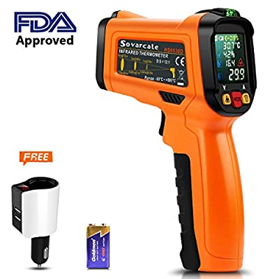 Infrared Thermometer, Laser non-contact kitchen cooking thermometer color display , free 2.1A car charger