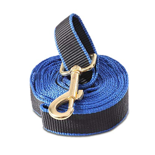Dog Training Walking Leash - Strong Durable Pet Heavy Duty Leashes, Safe Collar Hook and Extra 7 Comfortable Handles Control, 5ft Long (Black&Blue)