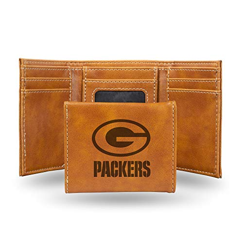 Rico Industries NFL Green Bay Packers Laser Engraved Tri-Fold Wallet, Brown