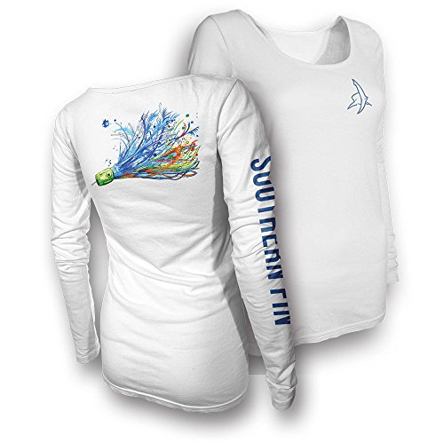 Womens Performance Fishing Shirt - Southern Fin Apparel Girls Ladies Long Sleeve (X-Large, Offshore Lure) - Womens Southern Clothing