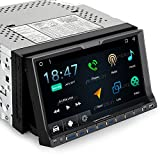 Android Car Stereo Double Din DVD CD Player with Bluetooth GPS Navigation 7 inch Flip Out Touch Screen, Support WIFI, iPhone/iPod, Backup Camera, MirrorLink, USB SD, Dash Cam