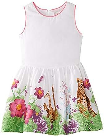 Pumpkin Patch Big Girls' Floral Safari Border Dress, Beetroot Purple, 7