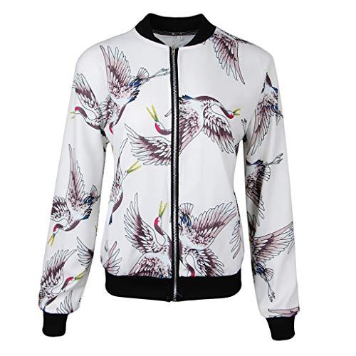 Bombardero Blancos Alto Cintura Impresa Floral Collar B Abrigo Ajustable De Mujer Cuello Chaqueta Baosity Corta 1 Pájaros wTHTqZtxU