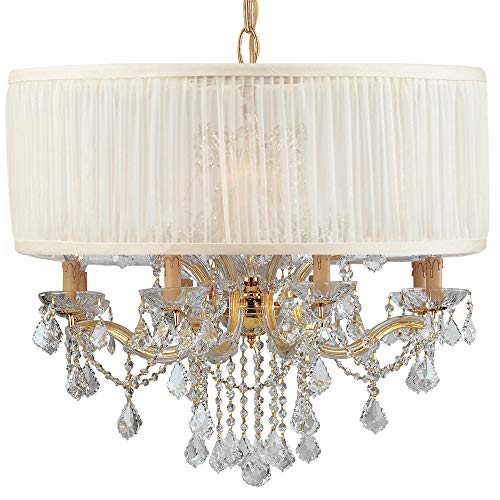 Brentwood Collection Light Twelve (Crystorama 4489-GD-SAW-CLM Crystal Accents 12 Light Chandelier from Brentwood collection in Gold, Champ, Gld Leaffinish,)