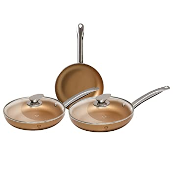 Set 5 piezas sartenes con tapas de cristal Le Chef Collection Cobre – bl-3269: Amazon.es: Hogar