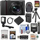 Panasonic Lumix DC-ZS200 4K Wi-Fi Digital Camera (Black) 64GB Card + Case + Battery & Charger + Tripod + Flash + Video Light Kit