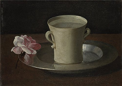 Oil Painting 'Francisco De Zurbarin A Cup Of Water And A Rose' 30 x 43 inch / 76 x 108 cm , on High Definition HD canvas prints is for Gifts And Bed Room, Game Room And Study Room (2)
