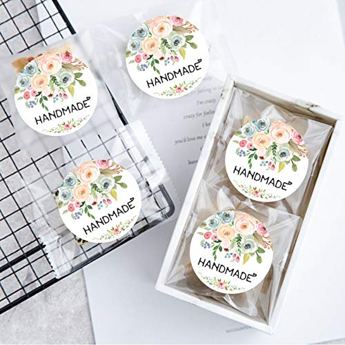 120PCS Handmade Stickers Handmade with Love Stickers Handmade Labels Packaging Stickers Handmade Flower Labels Floral Bouquets Stickers