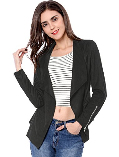 (Allegra K Women's Zipper Draped Front Moto Faux Suede Jacket Black M (US 10))