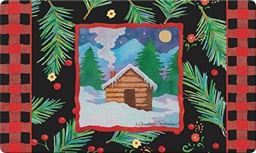 Toland Home Garden Cozy Cabin 18 x 30 Inch Decorative Winter Floor Mat Outdoors Snow Doormat
