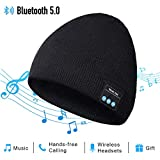 Bluetooth Beanie Hat Unisex, 5.0 Bluetooth Hat, Rechargeable Wireless Bluetooth Cap with Built-in Stereo Speakers, Christmas Electronic Gifts for Men Women Teen Boys Girls