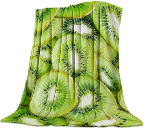 PacoShower Ultra Soft Throw Blanket Flannel All Season Lightweight Bed Blanket Fruit Pattern Design Fresh Kiwifruit Digital Print Microfiber Blankets for Kids Adults 59x79 Inch King Size