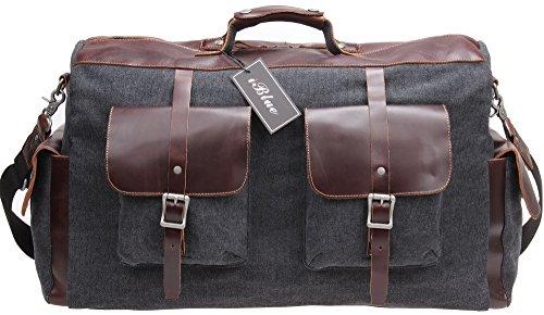 Iblue Leather Trim Travel Duffel Shoulder Handbag Canvas Tot...