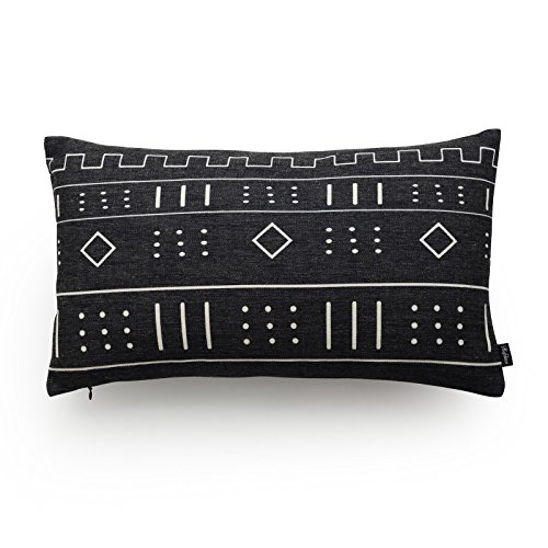 "Hofdeco Premium Decorative Lumbar Pillow Cover HEAVY WEIGHT Cotton Linen African Mud Cloth Inspired Print Ethnic Black Geo Stripe 12""x20"" 30cm x 50cm"