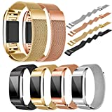 ABC Luxury Milanese Stainless Steel Watch Band Bracelet Strap + HD Film for Fitbit Charge 2