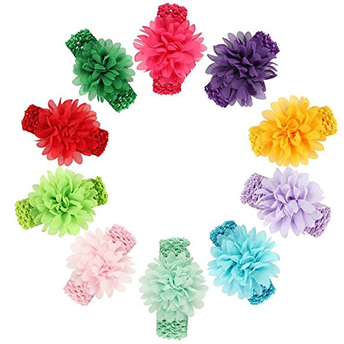 Gorgeous Bow (Baby Girl's Headbands Set with Chiffon Flower Hair Bow - 10 Pack - Gorgeous Flowers on Super Stretchy Elastic Headbands for Newborn Toddler)