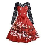 Christmas Dress,KIKOY Womens Fashion Lace Long Sleeve Print Party Swing Dress