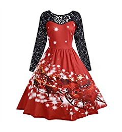 Christmas Lace Patchwork Long Sleeve Vintage Women Swing Dress Party Cocktail Robe Vestidos: Clothing