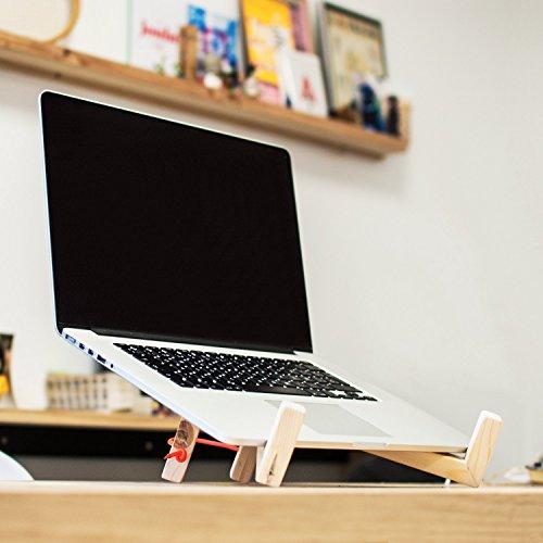 Minimal wood laptop stand - Modern macbook stand - Foldable laptop holder - Handmade macbook tray