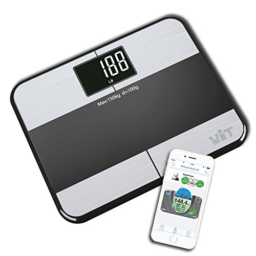 WiTscale S1 Stainless Steel Body Fat Bluetooth Digital Bathroom Scale with Large Backlit Display and Step-On Technology for iPhone7 and S7