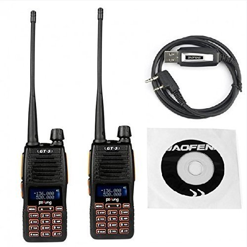 Vex 5 Light - Baofeng Pofung GT-5 Transceiver, Dual Band VHF/UHF 136-174/400-520MHz Two-Way Radio, 1 Programming Cable Included, Twin Pack