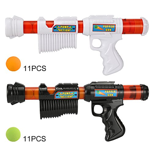 FUNEW Power Popper Gun, Dual Battle Pack, Foam Ball Air Powered Shooter Toy Guns...